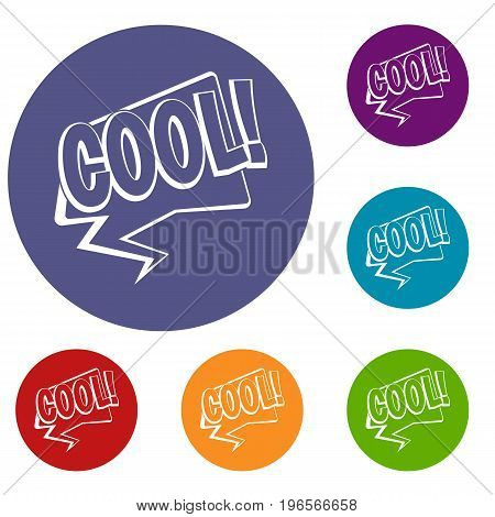 COOL, comic text speech bubble icons set in flat circle red, blue and green color for web