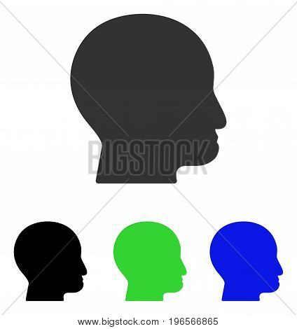 Bald Head vector pictogram. Illustration style is a flat iconic colored symbol with different color versions.