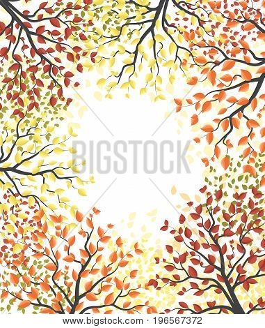 Vector illustration of an autumn tree with leaves. Autumn multicolored forest