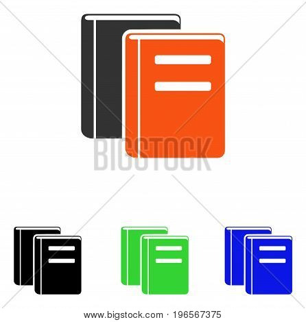 Books vector pictograph. Illustration style is a flat iconic colored symbol with different color versions.