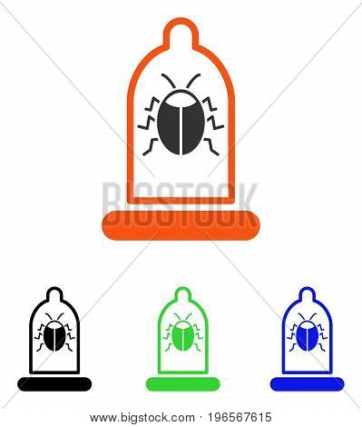Bug Protection Condom vector icon. Illustration style is a flat iconic colored symbol with different color versions.