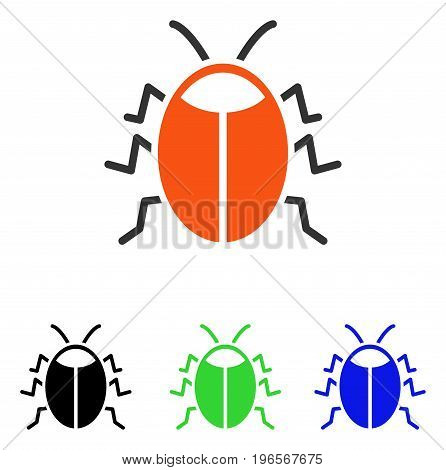 Bug vector pictogram. Illustration style is a flat iconic colored symbol with different color versions.