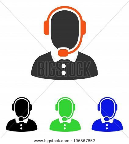Call Center Operator vector icon. Illustration style is a flat iconic colored symbol with different color versions.