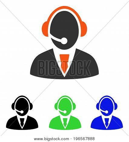Call Center Worker vector pictogram. Illustration style is a flat iconic colored symbol with different color versions.