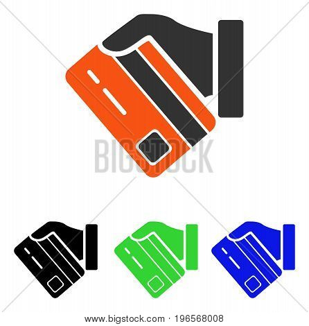 Card Payment vector icon. Illustration style is a flat iconic colored symbol with different color versions.