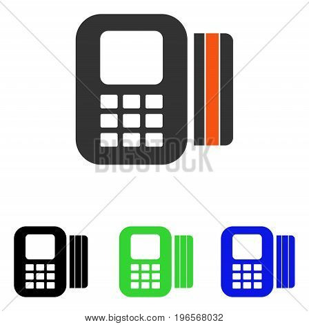 Card Processor vector icon. Illustration style is a flat iconic colored symbol with different color versions.