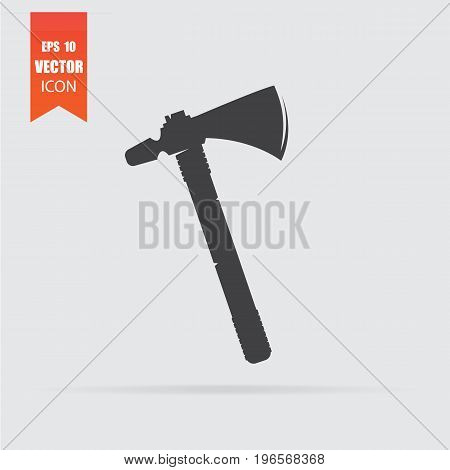 Axe Icon In Flat Style Isolated On Grey Background.