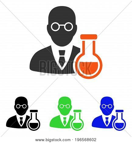 Chemist vector pictograph. Illustration style is a flat iconic colored symbol with different color versions.