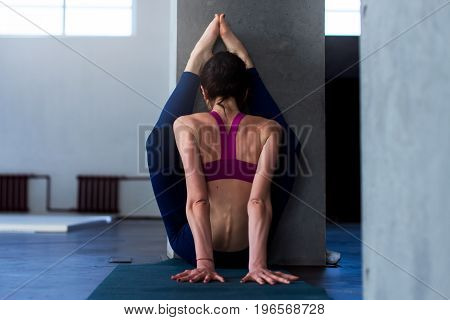 Back view of muscular young woman doing advanced stretching exercise with wall performing variation of upward facing forward bend pose during yoga routine.