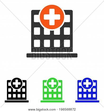 Clinic Facade vector pictogram. Illustration style is a flat iconic colored symbol with different color versions.