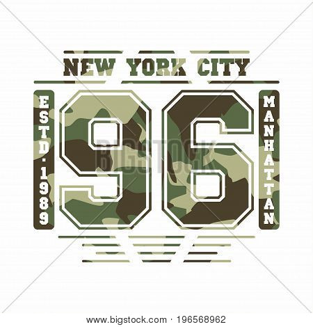 Camouflage Typography For T-shirt Print. New York, Varsity, Athletic T-shirt Graphics