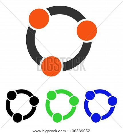 Collaboration vector pictogram. Illustration style is a flat iconic colored symbol with different color versions.