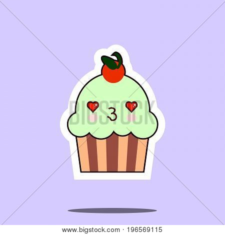 cup cake kawaii character cute face. Flat design Vector Illustration