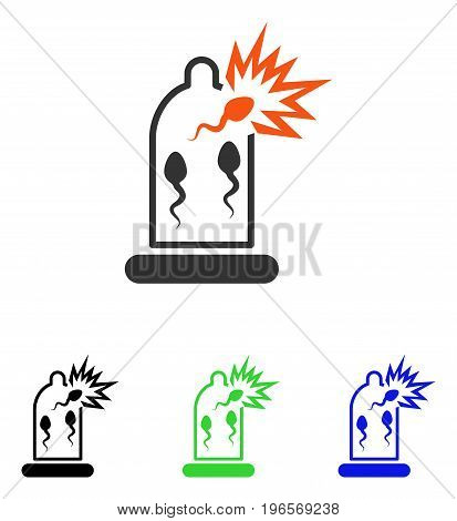 Condom Sperm Damage vector pictograph. Illustration style is a flat iconic colored symbol with different color versions.