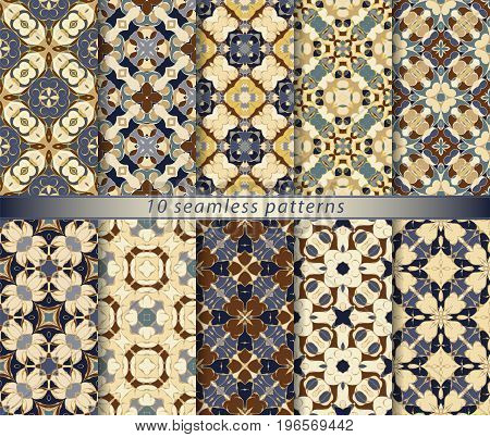 Vector set of ten seamless abstract patterns in ethnic style. Decorative and design elements for textile, book covers, print, gift wrap.