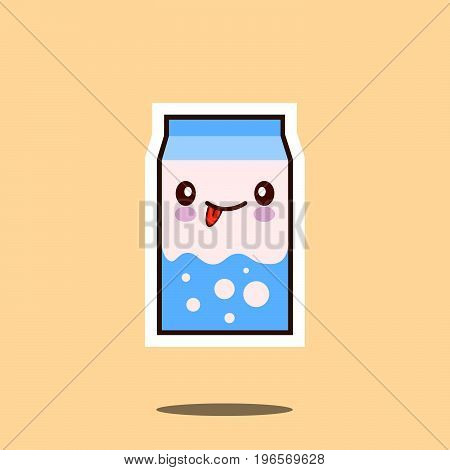 Cute milk box icon kawaii container with smiley face. funny cartoon style vector illustration.