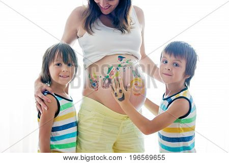 Happy Children, Boys, Painting On Mommy's Pregnant Belly