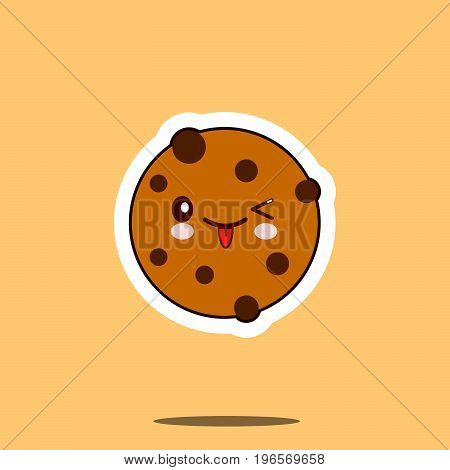 Chocolate Cookie smile cartoon face food kawaii. Flat design Vector Illustration