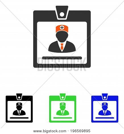 Doctor Badge vector pictogram. Illustration style is a flat iconic colored symbol with different color versions.