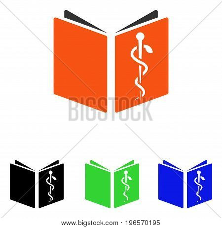 Drug Handbook vector pictograph. Illustration style is a flat iconic colored symbol with different color versions.