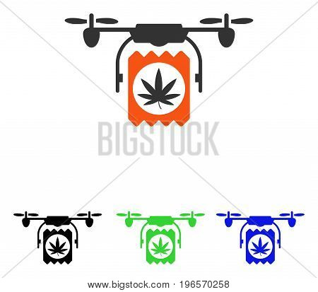 Drugs Drone Delivery vector pictogram. Illustration style is a flat iconic colored symbol with different color versions.
