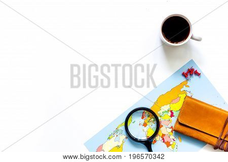 Planning trip. World map on white background top view.