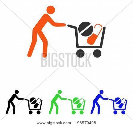 Drugs Shopping Cart vector icon. Illustration style is a flat iconic colored symbol with different color versions.