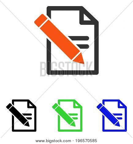 Edit Records vector pictogram. Illustration style is a flat iconic colored symbol with different color versions.