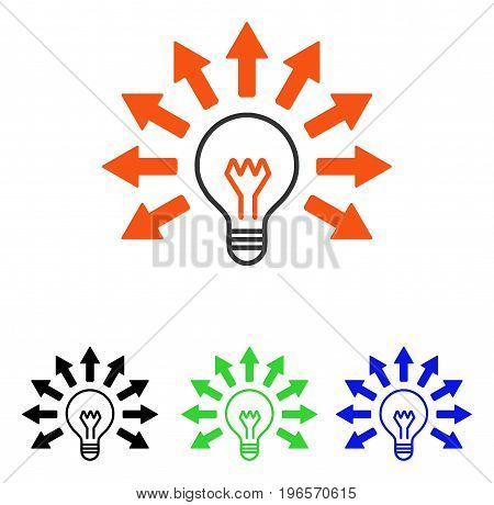 Electric Light vector pictograph. Illustration style is a flat iconic colored symbol with different color versions.