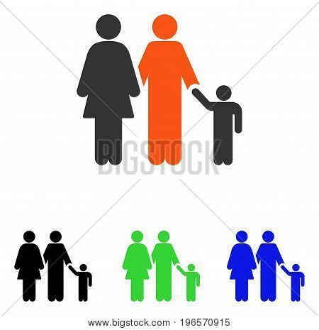 Family vector pictograph. Illustration style is a flat iconic colored symbol with different color versions.
