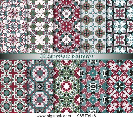 Set of seamless patterns in the classical style for festive wrapping paper. Ornaments with oriental motifs. Suitable for textiles, scrapbooking or your design. Vector illustration.