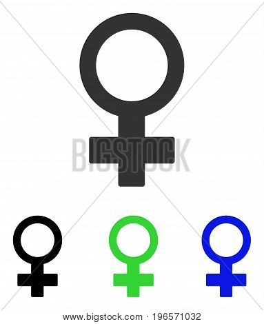 Female Symbol vector pictogram. Illustration style is a flat iconic colored symbol with different color versions.