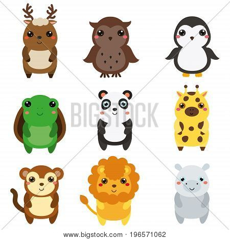 Cute animals. Children style, isolated design elements. Cartoon kawaii wildlife and african animals. Deer, panda, lion, turtle and other. Vector illustration