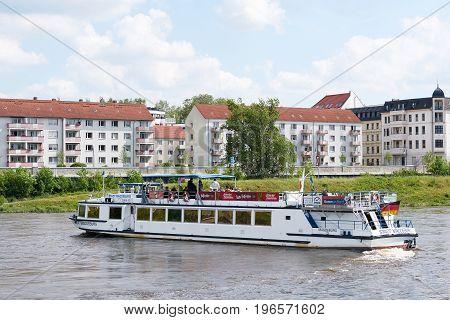 MAGDEBURG, GERMANY - MAY 20, 2017: The passenger ship