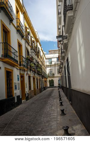 An empty street in the city of Sevile Spain Europe