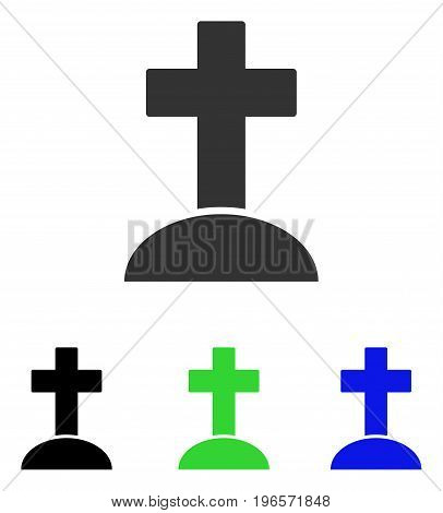 Grave vector pictograph. Illustration style is a flat iconic colored symbol with different color versions.