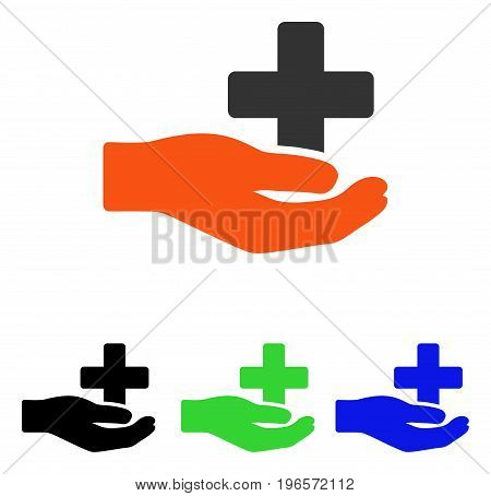 Health Care Donation vector pictograph. Illustration style is a flat iconic colored symbol with different color versions.