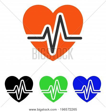 Heart Diagram vector icon. Illustration style is a flat iconic colored symbol with different color versions.