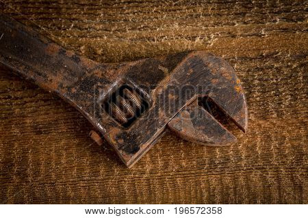 Old Rusty Adjustable Wrench