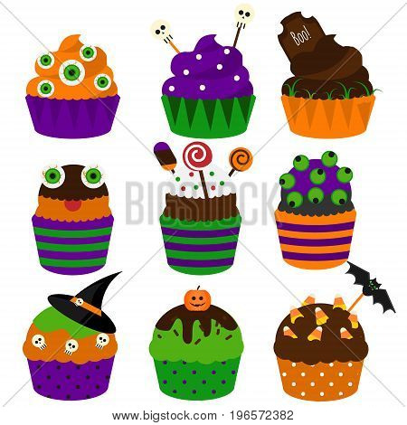 Halloween cupcakes. Vector flat icons. Halloween sweet bakery decorated with skull, candy and other. Yummy party food