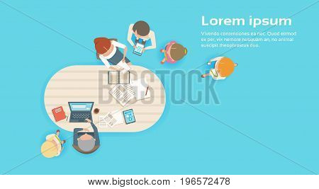 Group Of Business People Working Together Creative Team Brainstorming Top Angle View Flat Vector Illustration