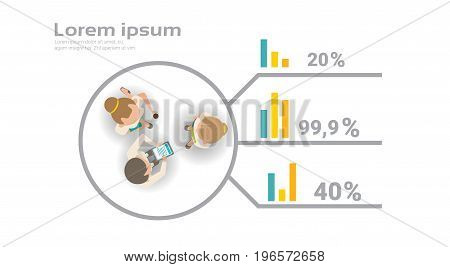 Group Of Business People Working Together On Financial Report Infographics Creative Team Brainstorming Top Angle View Flat Vector Illustration