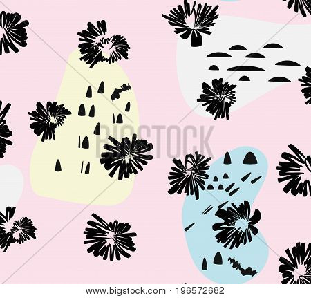 Artistic vector background in trendy 80s 90s style. Messy pattern with ink flowers and hand drawn style elements. Design template
