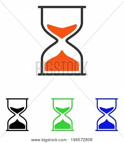 Hourglass vector pictograph. Illustration style is a flat iconic colored symbol with different color versions.