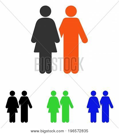 Human Couple vector pictograph. Illustration style is a flat iconic colored symbol with different color versions.