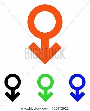 Impotence Symbol vector icon. Illustration style is a flat iconic colored symbol with different color versions.