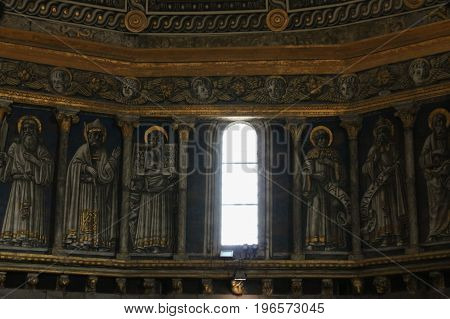 Italy Siena - December 26 2016: the view of the Papa's busts in the dome interior of Siena cathedral on December 26 2016 in Siena Tuscany Italy.