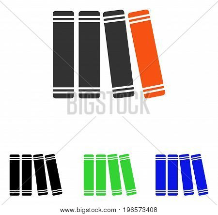 Library Books vector pictograph. Illustration style is a flat iconic colored symbol with different color versions.