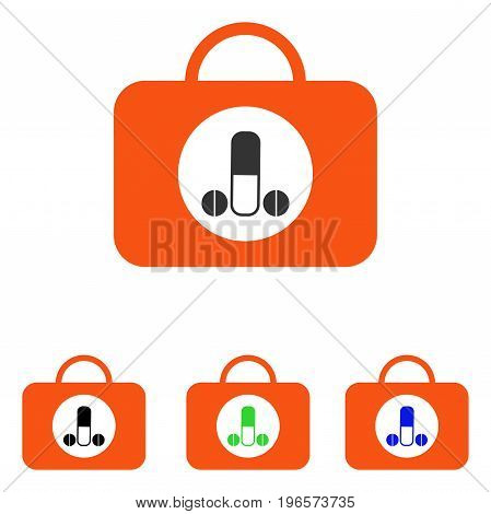 Male Sexual Toolbox vector pictograph. Illustration style is a flat iconic colored symbol with different color versions.