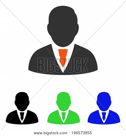 Manager vector icon. Illustration style is a flat iconic colored symbol with different color versions.